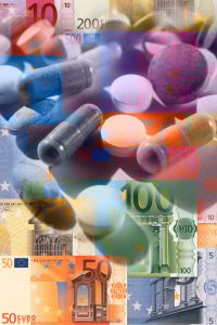 Composite of colorful Euro bills and medical pills