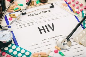 Medical form on a table, diagnosis hiv