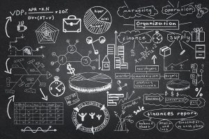 Background image with chalk drawn business strategy plan on board