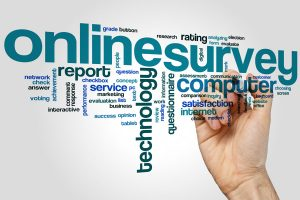 Online survey word cloud concept