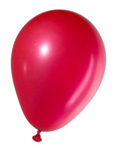 swollen red balloon, isolated on white