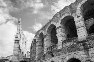 Verona Arena ancient ruins (black and white)