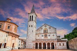 Spoleto, Umbria, Italy: the medieval cathedral of Santa Maria Assunta, example of Romanesque architecture