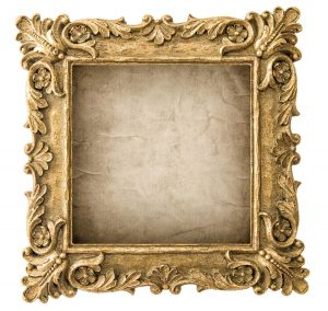 Antique golden picture frame with grungy canvas isolated on white background