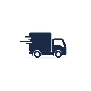 Delivery Truck Icon side view isolated on white. Vector simple flat illustration. Delivery symbol.