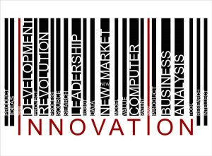 colorful INNOVATION text barcode, vector