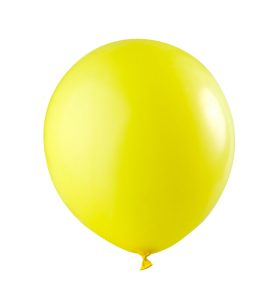 close-up yellow balloon, isolated on white