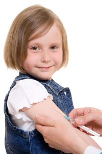 Child vaccinations on a white background.