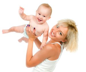 smiling mother with her baby isolated on white background