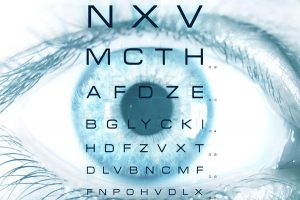 Eye macro with test vision chart