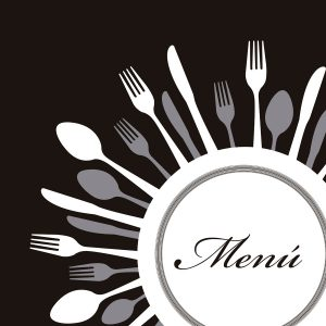 menu with cutlery over black background. vector illustration