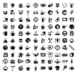 Vector 100 Food and Kitchen Icons Set for Web