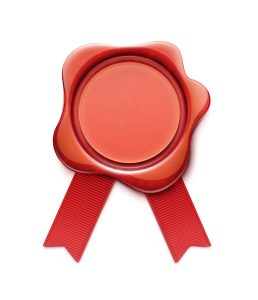 Vector illustration of red wax seal with ribbons and copy space for your own text and images