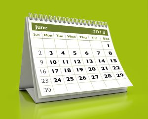 3D desktop calendar June 2013 in color background