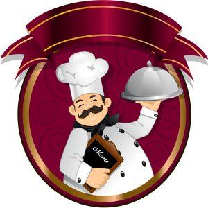 Chef with tray and a menu inside a circle color board decorated with banners