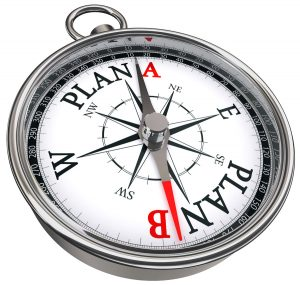 plan b direction conceptual compass, isolated on white background