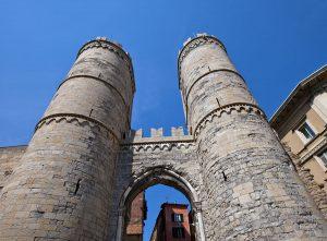 Towers of medieval Porta Soprana gates (circa XI c.). Genoa, Italy