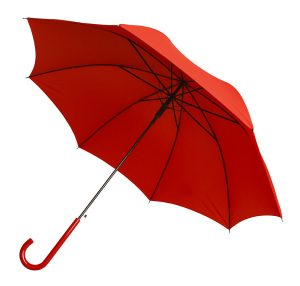Bright Red Umbrella Tilted Isolated on White Background.