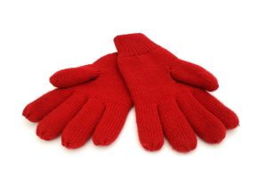 Bright red woolen gloves on a white background