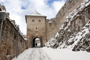 old castle in winter time