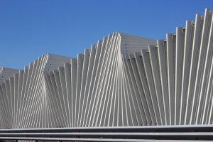 Architectural detail of the Railway station Mediopadana in Reggio Emilia, Italy