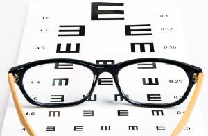 eyeglasses and optometrist chart