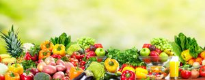 Fresh Fruits and vegetables. Health and diet background
