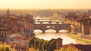 Beautiful view to bridge Ponte Vecchio in Florence, Italy