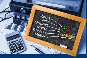 customer satisfaction concept hand drawing on blackboard