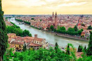 Verona Italy panorama with river Adige at sunset