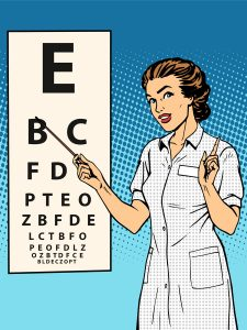 Woman ophthalmologist table verification of view pop art retro style. Medicine and eye health
